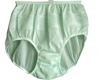 PJGN Sissy GREEN Knickers Panties Underwear Women Briefs Soft Nylon Floral Lace Lingerie