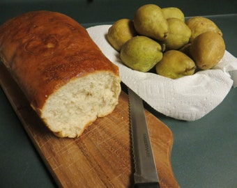Foodie Photo, Homemade Bread and Pears Photo, Wall Decor, Still Life, Food Photo, Bread Photo