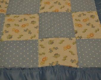 Blue Noah's Ark Baby Blanket - Cotton