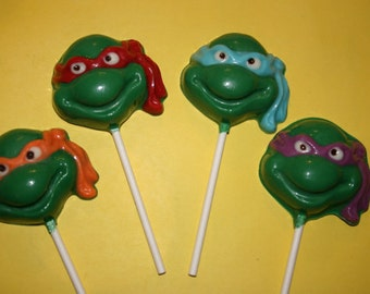 20 Chocolate TURTLE Lollipop Party Favors - TMNT inspired