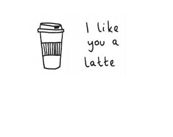 Eco friendly Greetings card - 'I like you a latte'. Recycled materials.