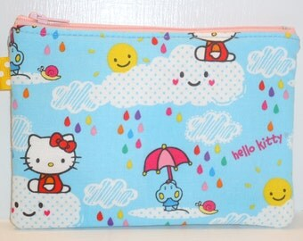 Kawaii Padded Zip Pouch / Camera Bag / Hello Kitty Cell Phone Case / Rainy Day Cosmetic Bag / Purse Organizer / Coin Purse / Card Wallet