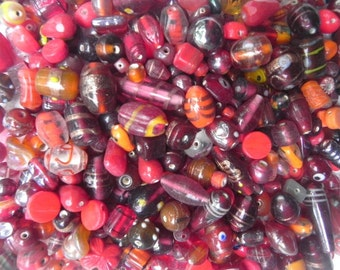 lampwork glass beads Supplies - wholesale commercial wholesale  beads 1 Pounds Red n Orange  color mix lampwork beads handmade.