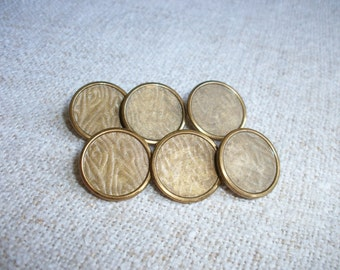 Vintage French Buttons set of 6 ~ Tole ~ Bark Pattern