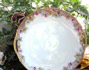 Handpainted Nippon Japanese Serving Plate Noritake China Gorgeous Art Deco Style Gold Trim Japan 1920s