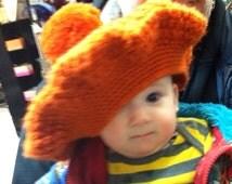 Orange OVERSIZED 1970's Vintage KNITTED BERET, Pimp Style Hat w Pom Pom