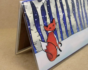 Checkbook Cover - Fox in a Winter Wood - snowy woodland forest