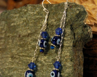 Crystal Nazar - Crystal Chain Dangle Earrings with Evil Eye Beads