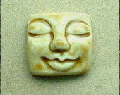 Large Square Face Ceramic Cabochon Stone in Peachy Tan