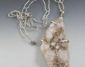 Large Quartz Pendant prong set in sterling silver with handmade sterling chain