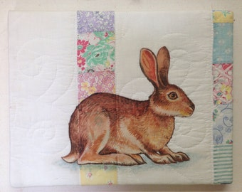 "Jack Rabbit on Vintage Quilt - original 11"" x 14"" painting by Kim Parkhurst"