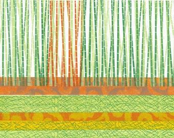 "LINOCUT PRINT - Bamboo Forest on a Grassy Field - OOAK Landscape Print 20""x26"""