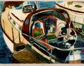 Sail Boat Art Original Pr...