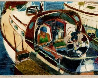 Sail Boat Art Original Print Girl Reading a Book on a Sailboat Belinda DelPesco