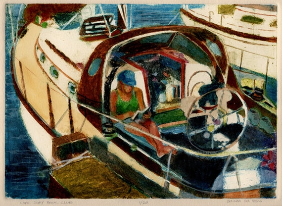 Sail Boat Art Original Print Girl Reading a Book on a Sailboat Belinda DelPesco
