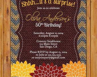 Surprise Birthday Fall Autumn Floral Flower Chevron Burlap Invite Blue Red Orange Yellow Any Age Birthday Party Invite 5x7 Digital JPG (330)