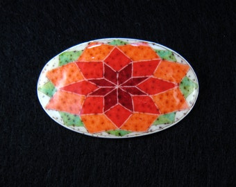 Ukrainian Jewelry - Rosette Star Brooch - hand made batik ostrich egg shell pin art