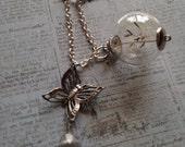 Dandelion Wish Inspire Butterfly Amethyst Necklace