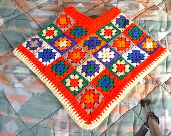 Kids' Girls' Hand-crocheted GRANNY SQUARE PONCHO Sizes 4-8