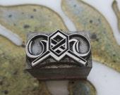 U.S. Army Chemical Corps Insignia Emblem Letterpress Printers Block Metal