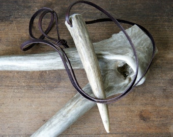 Deer Antler Necklace with leather cord