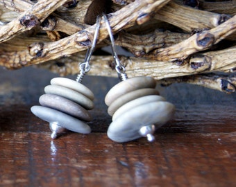Cairn Earrings - beach stone earrings - river stone cairn earrings - FREE GIFT WRAP