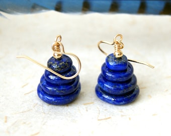 Lapis Cairn Earrings - Lapis Lazuli Earrings - Cairn Earrings - Zen - gemstone earrings - Cairn Jewelry - stone earrings - boho chic