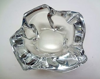 Vintage Daum France Crystal Ashtray Signed Two Tiny Chips