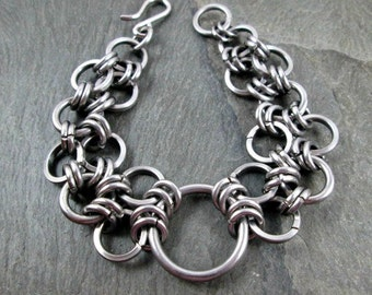 Chainmaille Bracelet - Steel Circles - Stainless Steel - Chainmaille Jewelry