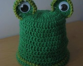 Fantastic Frog Hand-Crocheted Baby Hat, Made in the USA (each hat purchase benefits children with cancer)