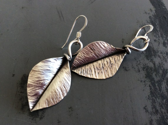 Sterling silver fold-formed leaf earrings - made to order