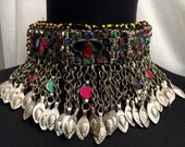 Vintage Tribal Kuchi Colored Glass and Metal Choker Necklace 33