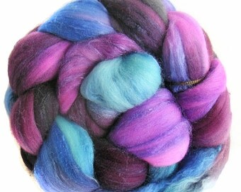 MERINO SILK handdyed wool roving top spinning or felting fiber 3.5 oz