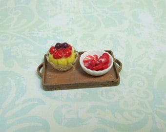 Dollhouse Miniature Wood Tray with Fruit Tart & More