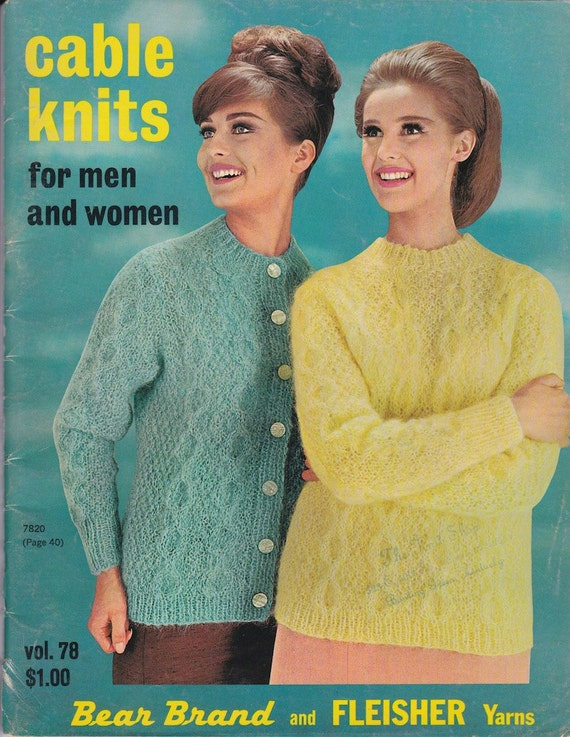 Cable Knits For Men and Women Vol. 78 - 1963 - Vintage Knitting Patterns