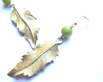 The Cheyenne- Gold Feather and Olive Green Jade Earrings