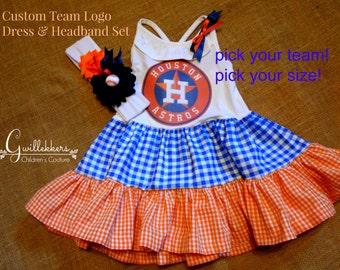 Girls Dress & Headband Set Team Spirit  Any team! Size 5 6 7 8 10/12 14