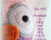 Custom Made-OWL HAT- You Pick Size and Colors (0-3m, 3-6m, 6-9m)