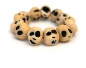 Creepy Cute Clay Skulls - Sculpey Jewelry Polymer Bracelet - Handmade Halloween Gift - Black and Ivory
