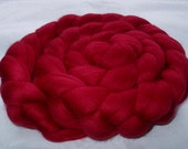 BERRY RED, merino wool roving, spinning fiber, super soft, 20 micron, wet/needle/nuno felting wool, dolls hair, dreads, 3.5oz