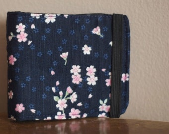 Fabric Wallet | Vegan Wallet | Fabric Billfold | Sakura Fabric Wallet | Blue Wallet