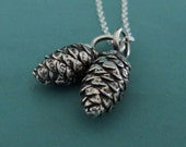 Pine Cone Charm Necklace in Sterling Silver with Two Charms