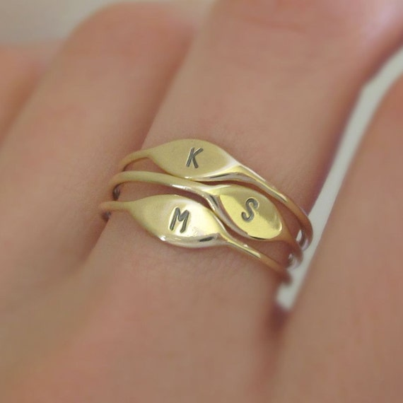 14k Gold Letter Stacking Ring Personalized with Initial - Recycled Gold - Mother's Ring Gift