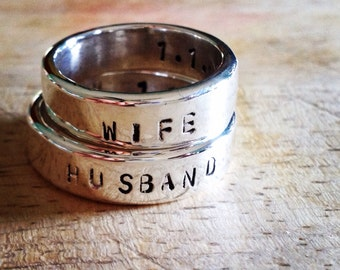 husband and/or wife, sterling silver or 14k wedding band pair