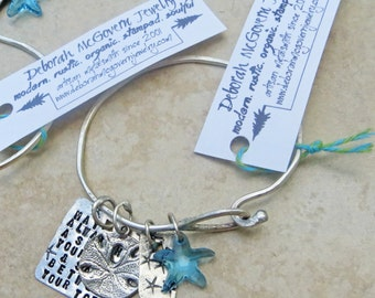 Embrace the Charms - with Beach Scriptz Sanddollar and Swarovski Starfish - Hand Stamped custom Sterling Silver Bracelet
