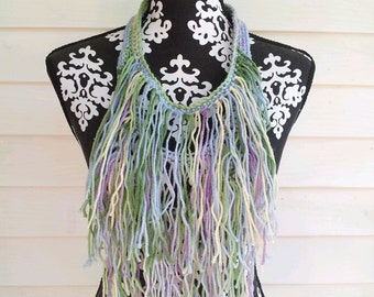 Green Yellow Lavender Fringe Necklace,  Crocheted Bohemian Statement Necklace, Hippie, Gypsy Necklace, Hippie Necklace, Scarf Necklace