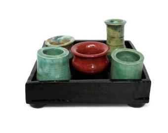 Handmade Ceramic  Tray of Pots