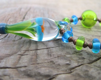 Glass Necklace, Pendant Necklace, Flower Pendant, Sky Blue Glass, Lime Green Glass, Copper Necklace, Lampwork Glass, Dark Orange Glass,