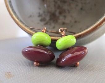 Glass Earrings, Copper Earrings, Green Glass, Red Wine Glass, Spring Green, Lampwork Glass, Lime Green, Copper Jewelry