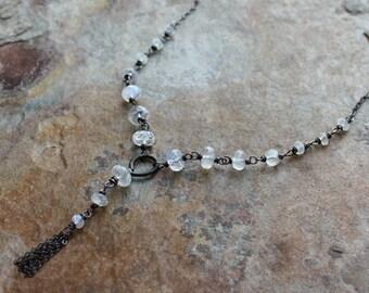 MOONSTONE necklace, Moonstone tassel necklace, sterling silver, tassle necklace